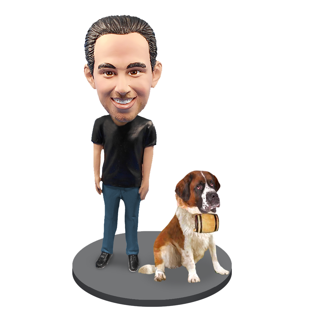 Custom Male with Custom Pet Dog Bobblehead - St.Bernard