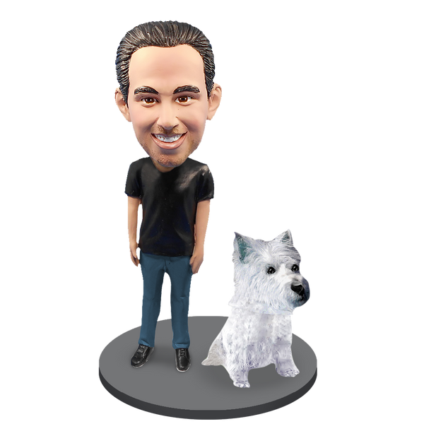 Custom Male with Custom Pet Dog Bobblehead - Westhighland Terrier