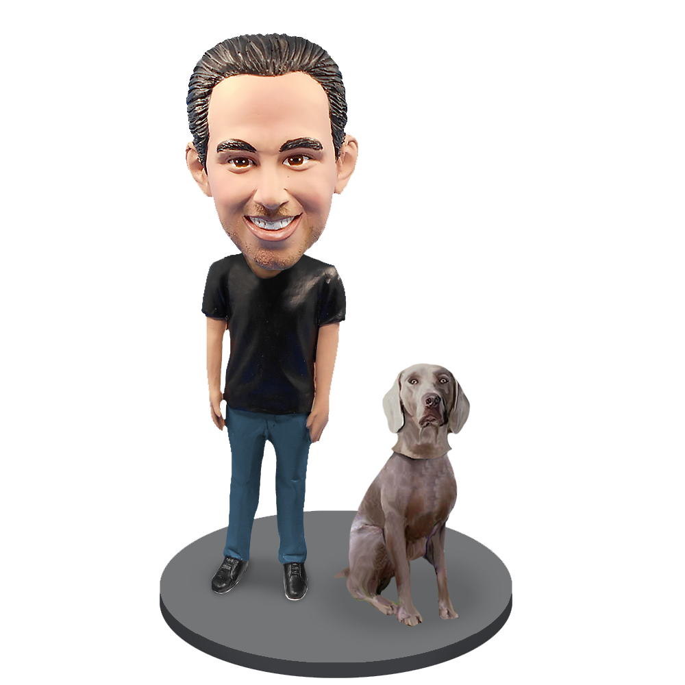 Custom Male with Custom Pet Dog Bobblehead - Wimariner