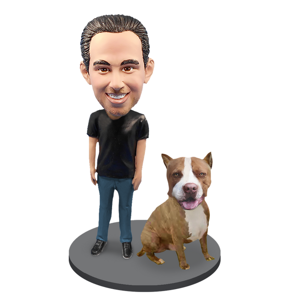 Custom Male with Custom Pet Dog Bobblehead - Pit Bull Brown