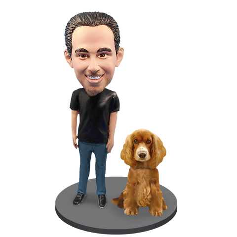 Custom Male with Custom Pet Dog Bobblehead - Cocker Spaniel