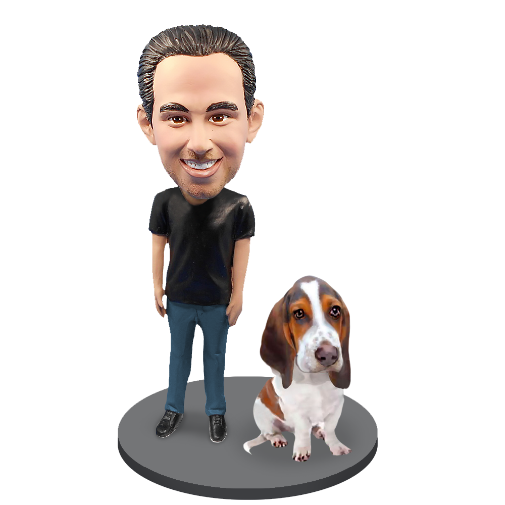 Custom Male with Custom Pet Dog Bobblehead - Basset Hound