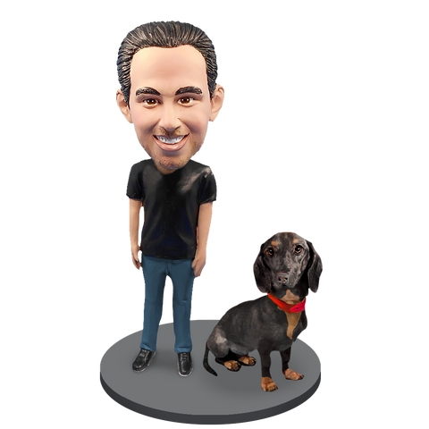 Custom Male with Custom Pet Dog Bobblehead - Dachshund