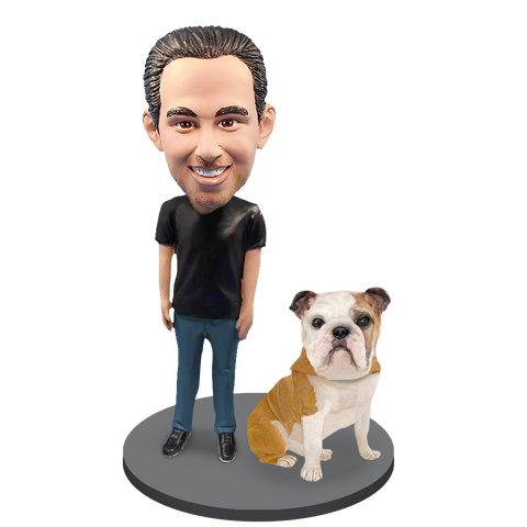 Custom Male with Custom Pet Dog Bobblehead - Bulldog