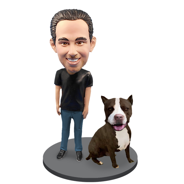 Custom Male with Custom Pet Dog Bobblehead - Pit Bull Black and White
