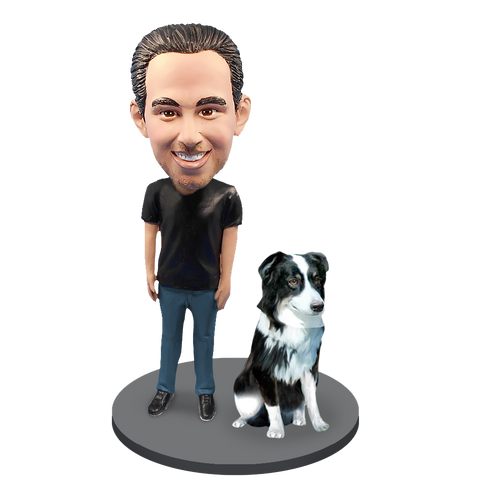 Custom Male with Custom Pet Dog Bobblehead - Australian Shepherd