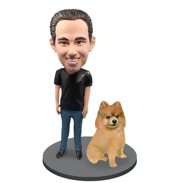 Custom Male with Custom Pet Dog Bobblehead - Pomeranian