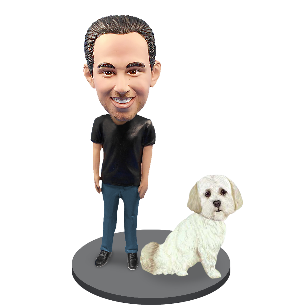 Custom Male with Custom Pet Dog Bobblehead - Shih Tzu