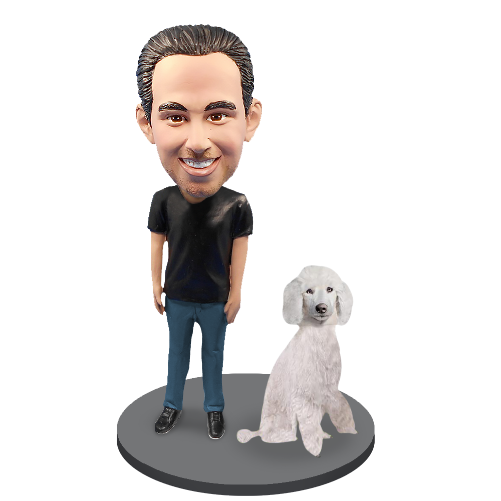 Custom Male with Custom Pet Dog Bobblehead - Poodle White