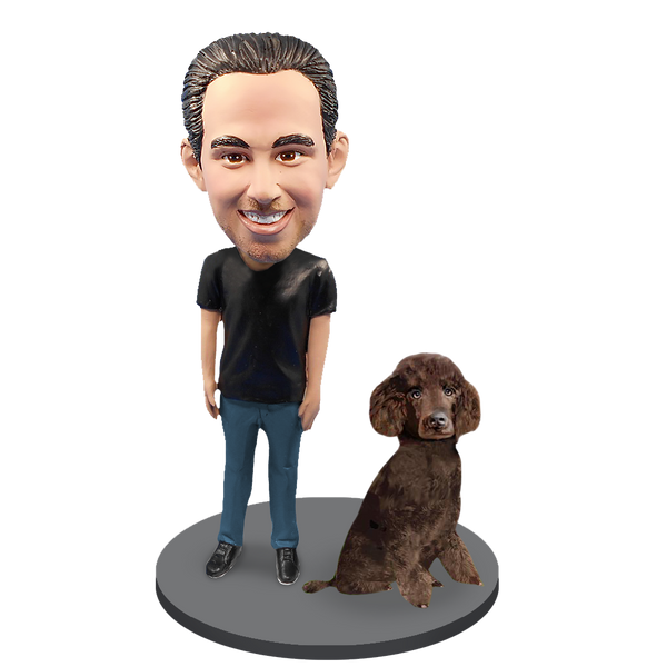 Custom Male with Custom Pet Dog Bobblehead - Poodle Brown Miniature