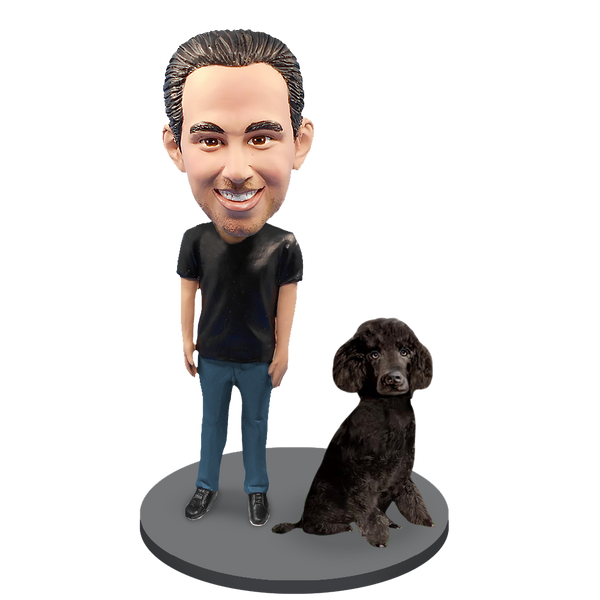 Custom Male with Custom Pet Dog Bobblehead - Poodle Black Miniature