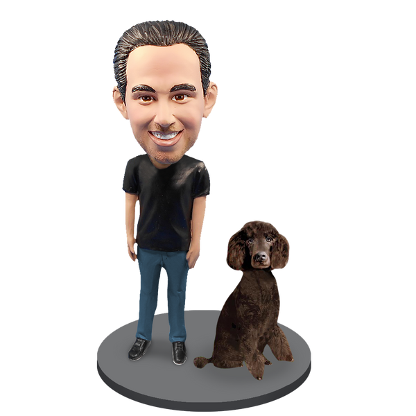 Custom Male with Custom Pet Dog Bobblehead - Poodle Brown