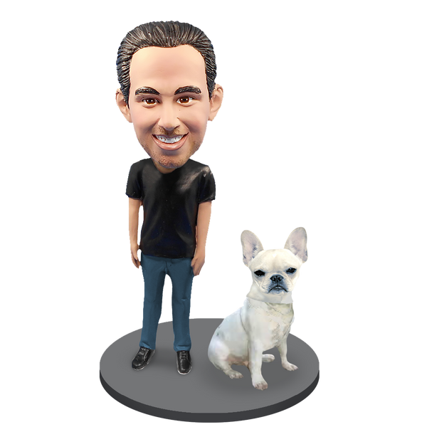 Custom Male with Custom Pet Dog Bobblehead - French Bulldog Cream