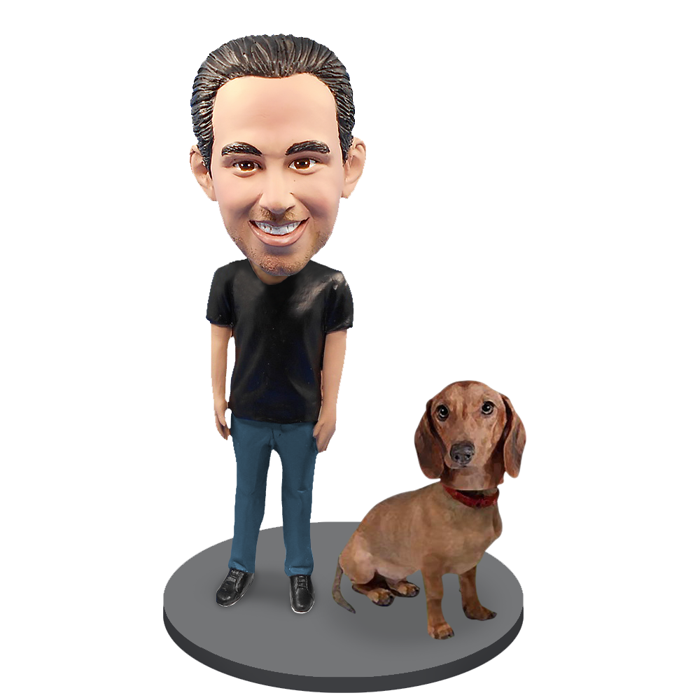 Custom Male with Custom Pet Dog Bobblehead - Dachshund Brown