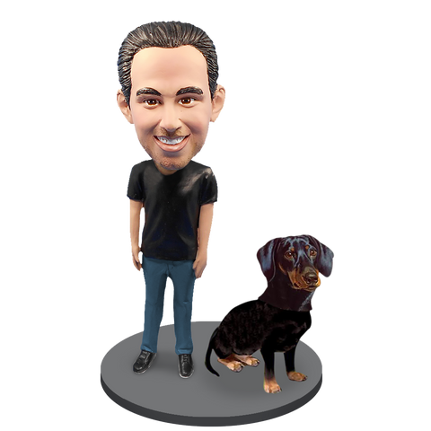 Custom Male with Custom Pet Dog Bobblehead - Dachshunds