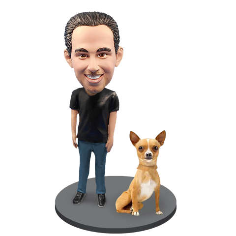 Custom Male with Custom Pet Dog Bobblehead - Chihuahuas Fawn