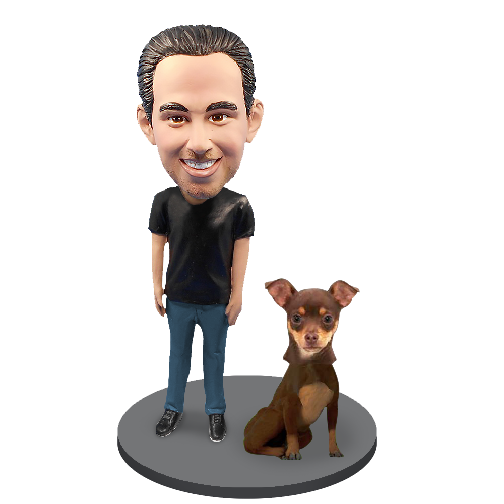 Custom Male with Custom Pet Dog Bobblehead - Chihuahuas Brown