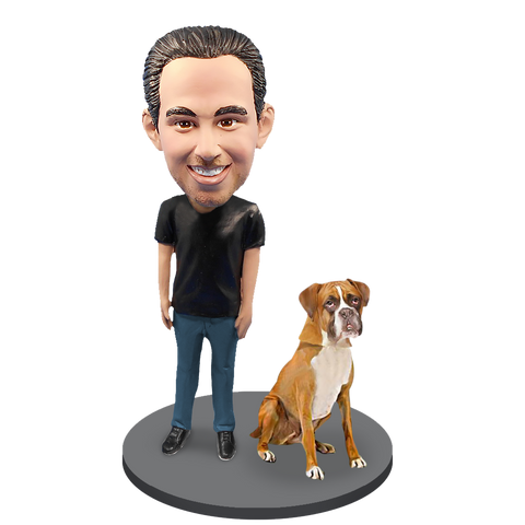Custom Male with Custom Pet Dog Bobblehead - Boxer Gold