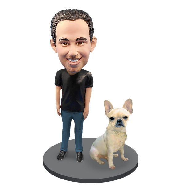Custom Male with Custom Pet Dog Bobblehead - French Bulldog Fawn