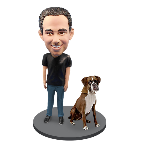 Custom Male with Custom Pet Dog Bobblehead - Boxer Brown