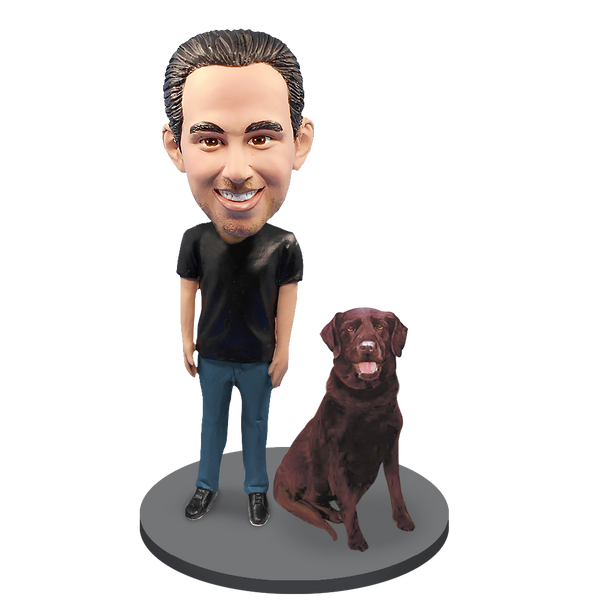 Custom Male with Custom Pet Dog Bobblehead - Chocolate Labrador