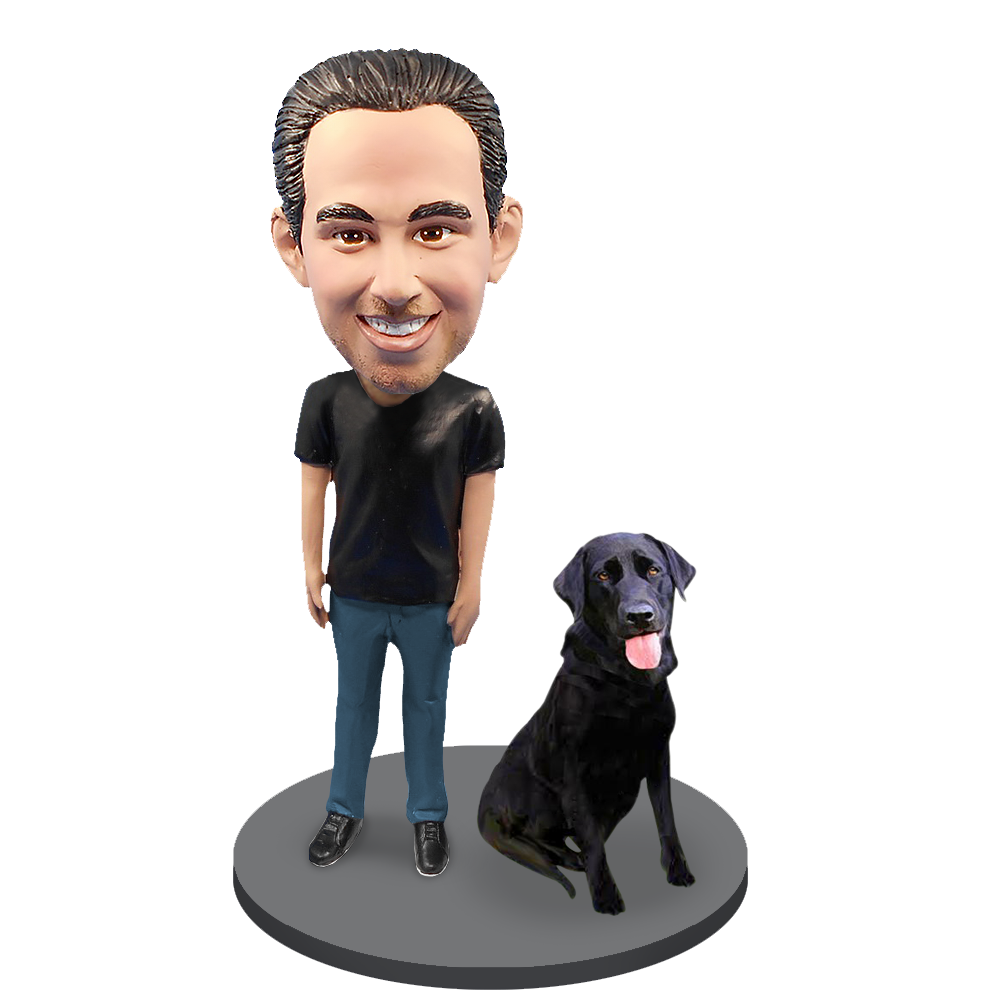 Custom Male with Custom Pet Dog Bobblehead - Labrador Retriever Black