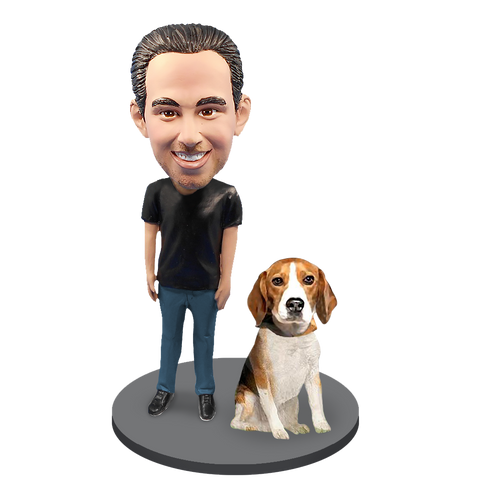 Custom Male with Custom Pet Dog Bobblehead - Beagle