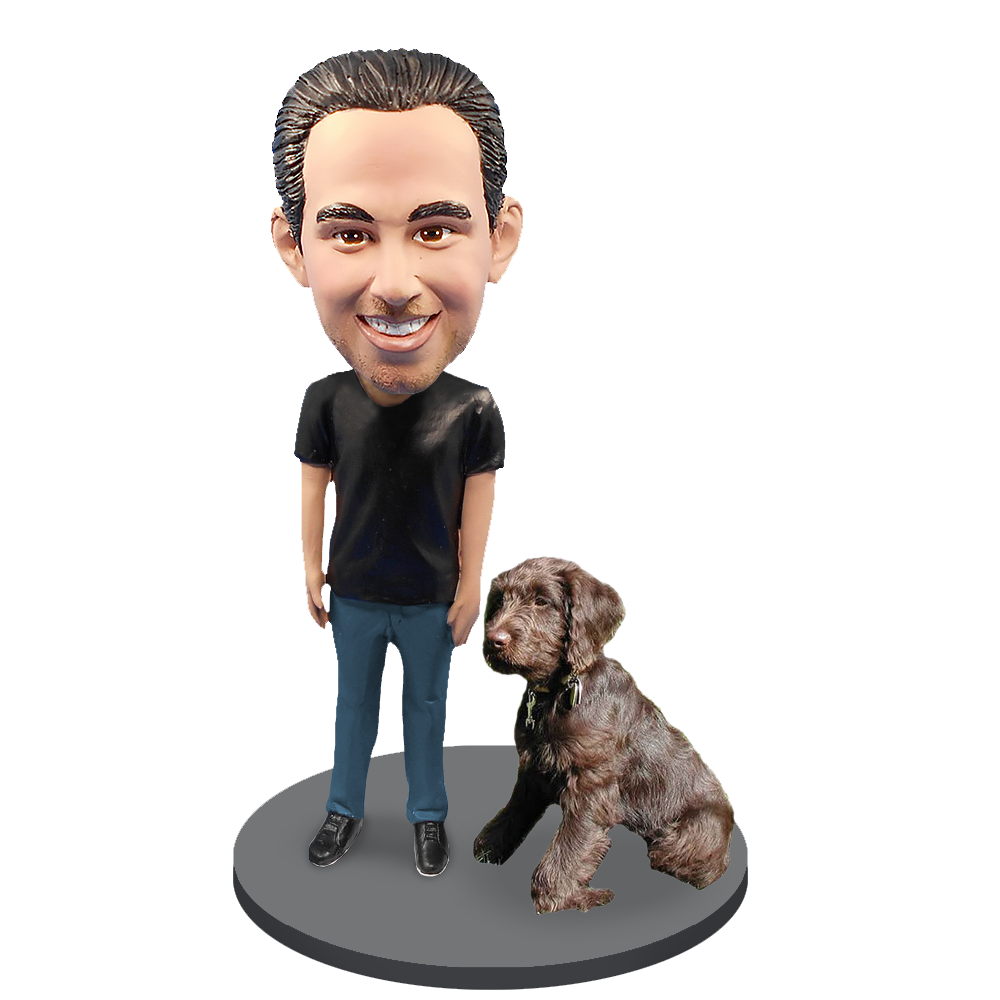 Custom Male with Custom Pet Dog Bobblehead - Labradoodle