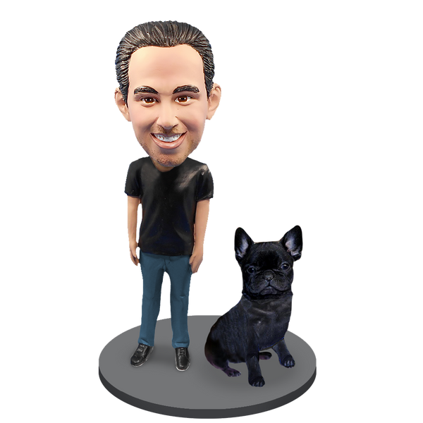 Custom Male with Custom Pet Dog Bobblehead - French Bulldog Black