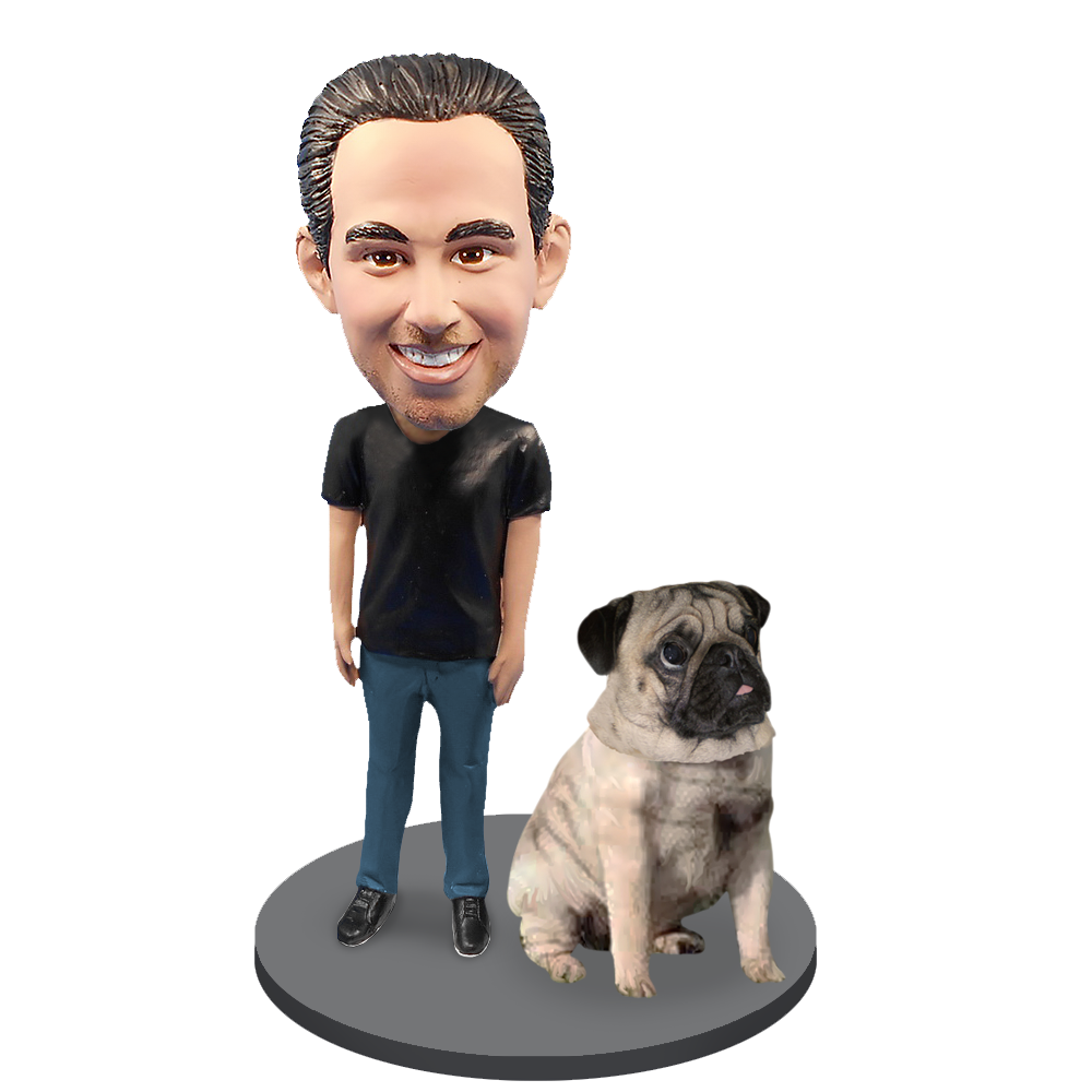 Custom Male with Custom Pet Dog Bobblehead - Pug Fawn