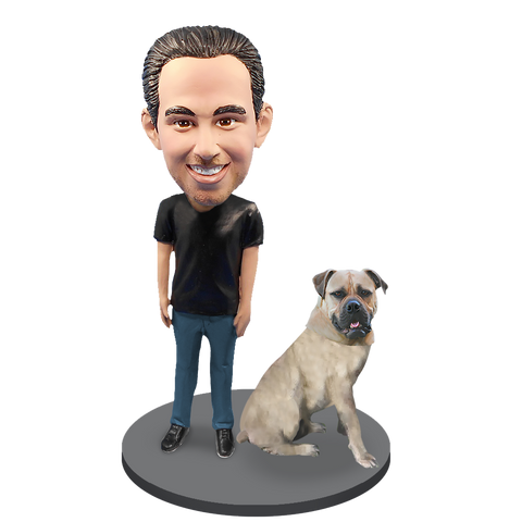 Custom Male with Custom Pet Dog Bobblehead - Bull Mastiff White Fawn