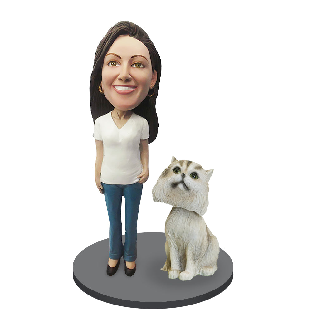 Custom Female with Custom Pet Cat Bobblehead