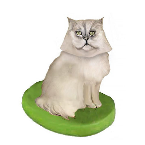 Custom Cat Bobblehead - Persian Grey