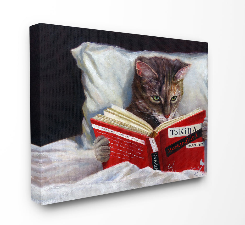 Cat in Bed with Book