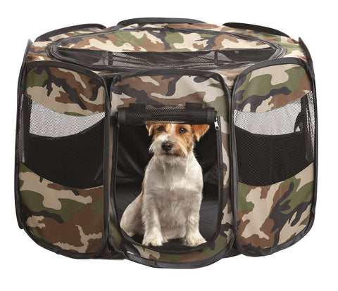 CAMO PORTABLE PUPPY PLAY PEN - SMALL