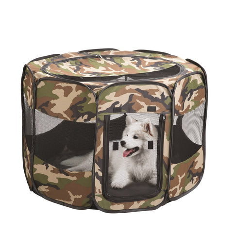 CAMO PORTABLE PUPPY PLAY PEN - LARGE