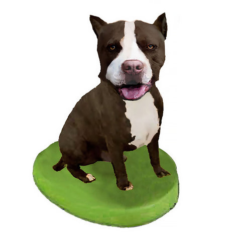 Custom Pet Dog Bobblehead - Pit Bull Black and White