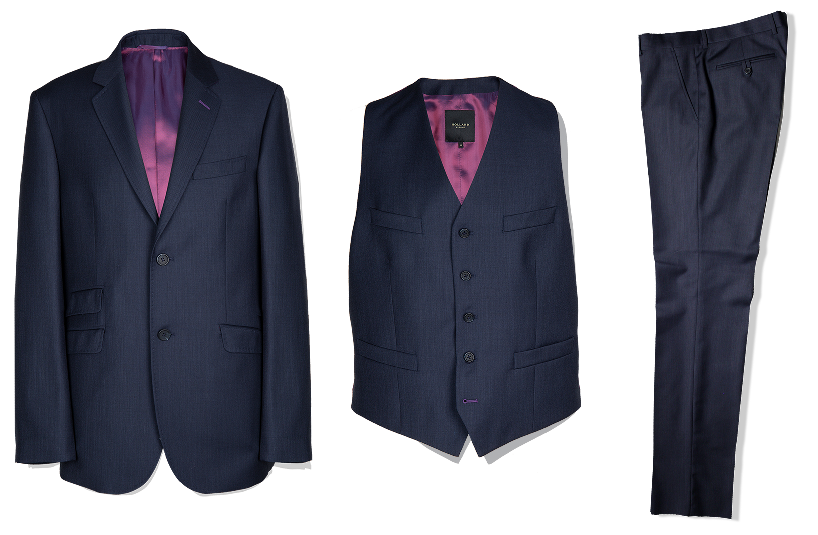 3 Piece Suit in Navy Birdseye - Holland Esquire