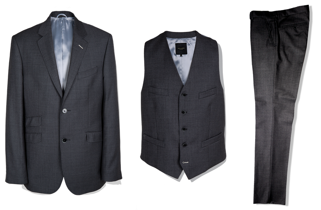 3 Piece Suit in Grey Birdseye - Holland Esquire