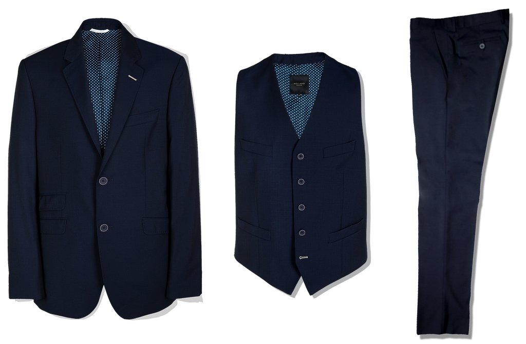 3 Piece Suit in Navy Panama - Holland Esquire