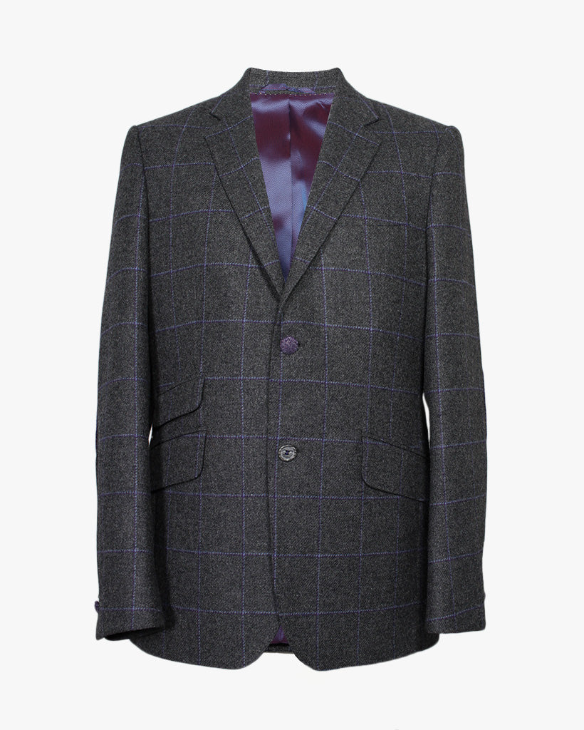 Charcoal Windowpane Reginald Jacket - Holland Esquire