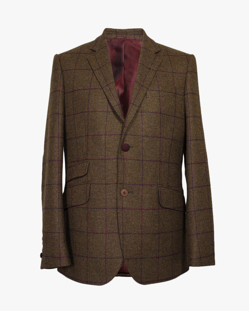 Brown Windowpane Reginald Jacket - Holland Esquire
