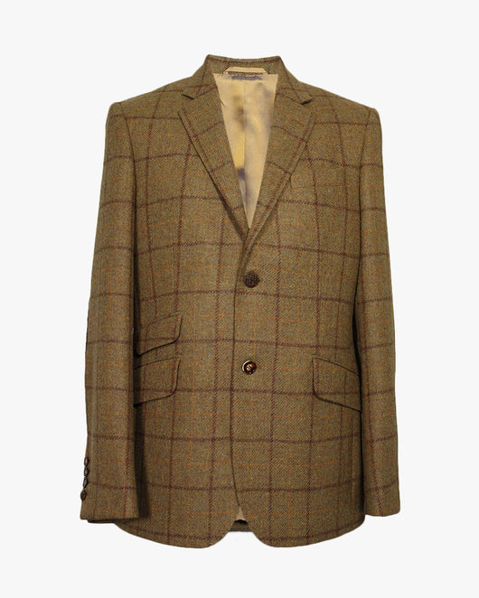 Tan Windowpane Reginald Jacket - Holland Esquire
