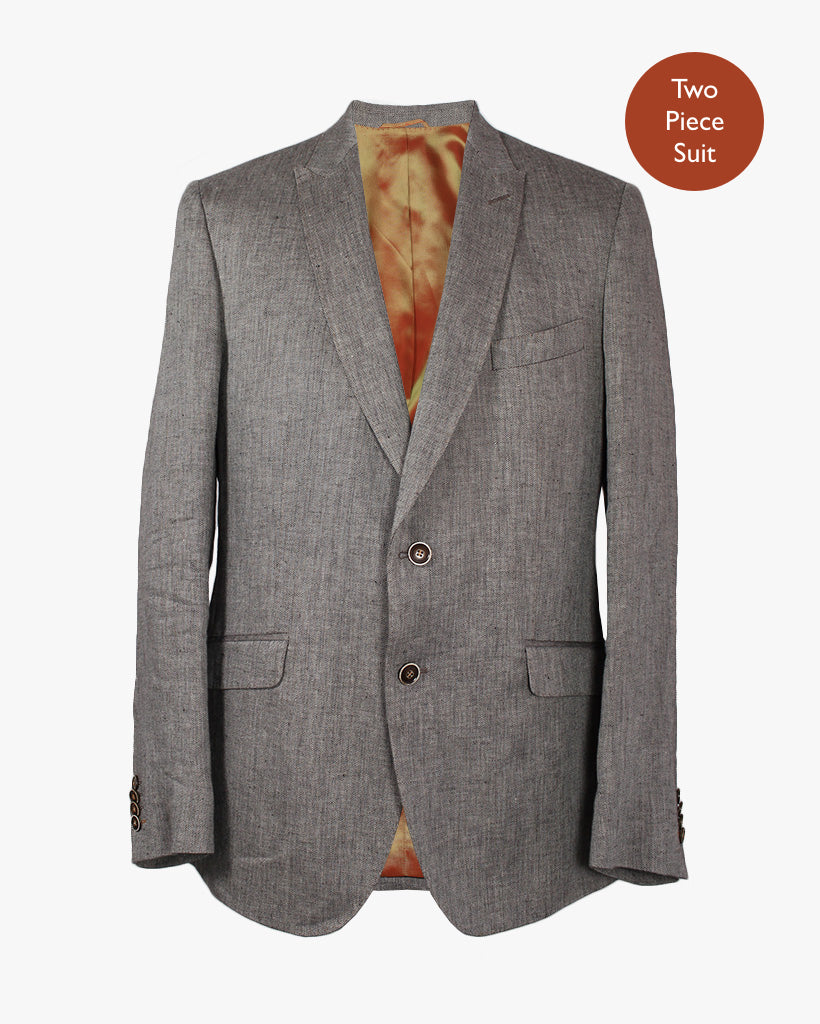 Brown Herringbone 2 Piece Suit - Holland Esquire
