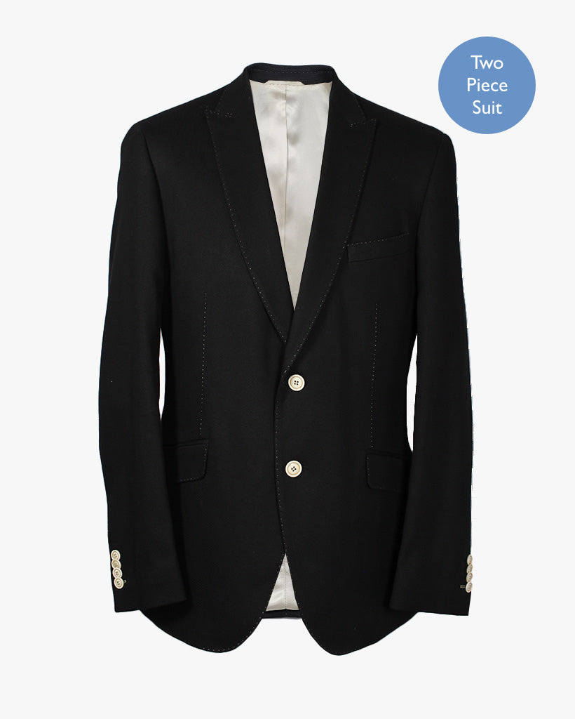 Black Hopsack 2 Piece Suit