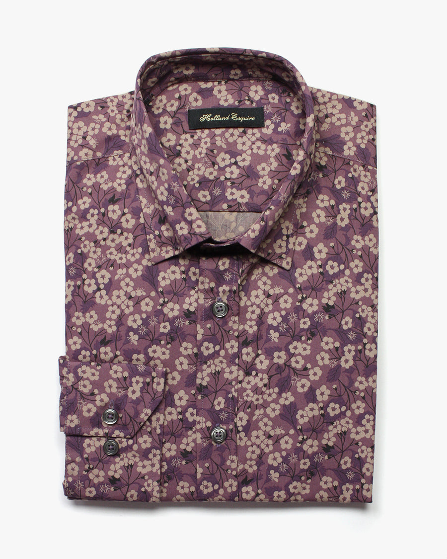 Purple Liberty Poppy Button Under Shirt - Holland Esquire