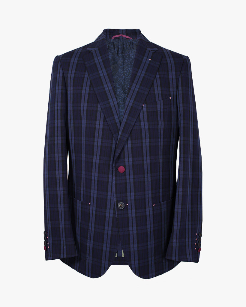 Navy Big Check Bertie Jacket