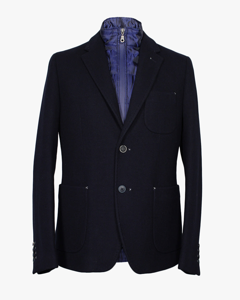 Navy Melton Wilfred Jacket - Holland Esquire