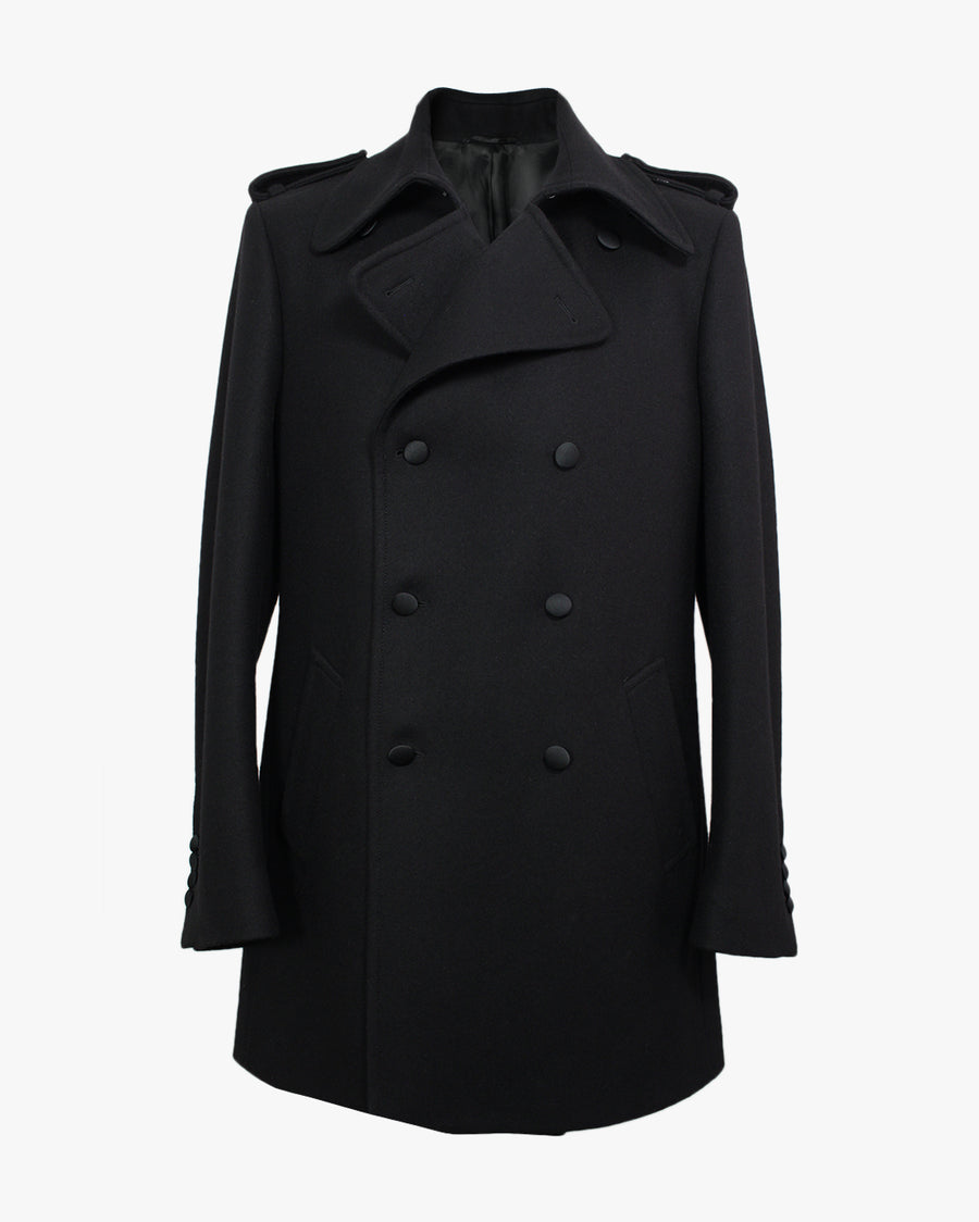 Black Melton Peacoat