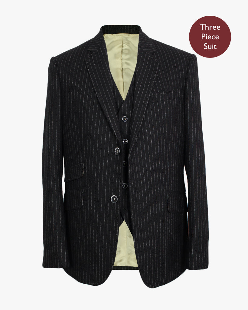 Black Pinstripe Three Piece Suit - Holland Esquire